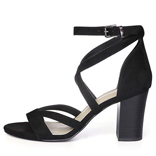 Allegra K Women's Crisscross Ankle Strap Sandals Black ffGZAk