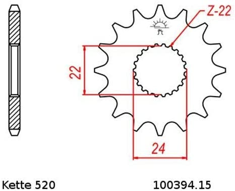 Kettensatz geeignet f/ür Aprilia MX 125 04-07 Kette RK 520 H 112 offen 15//45