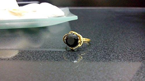(Brilliant cut ring,round black ring,onyx ring,gold ring,stack ring,wedding ring,engagement ring)