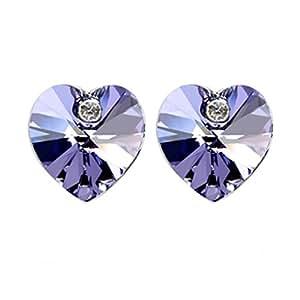 Heart Shaped Swarovski Element Crystal Stud Earrings Fashion Jewelry for Women (Purple)