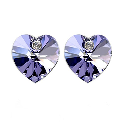 - Heart Shaped Swarovski Element Crystal Stud Earrings Fashion Jewelry for Women (Purple)