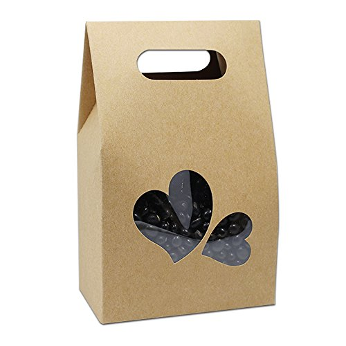 Kraft Paper Take Out Container Handle Box Cupcake Candy Bakeware Wrapping Merchandise Decorative Paperboard Treat Gift Paper Cardboard Boxes 10.5x15+6cm (4.1x5.9x2.3 inch) (20 Pieces, Heart Window)