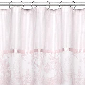 Waverly Home Toile Shower Curtain   Pink (72x72u0026quot;)