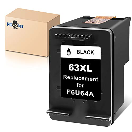 Pitooler Remanufactured Ink Cartridge Replacement for HP 63XL 63 XL Black to Use with Envy 4520 3634 OfficeJet 3830 5252 4650 5258 4655 4652 5255 DeskJet 3636 1111 3630 1112 3637 3632 Printer, 1-Pack