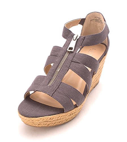 Sandals Linen Wedged Lauren Open Kelcie Slate LAUREN Ralph by Womens Casual Toe Cotton 74vpvq