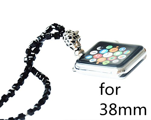 Apple Watch Necklace Jewelry Handmade iWatch Necklace Replacement Accessories Adaptor for Apple Watch 38mm Series 1 Series 2 Series 3 Neck Strap Chain Fit Smart Watch Square Black Crystal with Leopard