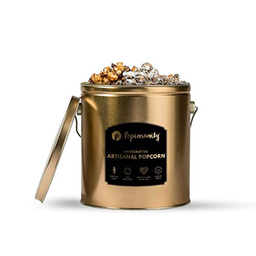 1 Gallon Popcorn Tin - Multi Flavor Popcorn Tin - 1 Gallon - Cookies & Cream | Caramel Chocolate Drizzle