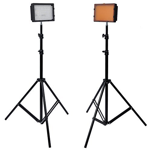 Neewer Photography 304 LED Studio Lighting Kit, including (2)CN-304 Dimmable Ultra High Power Panel Digital Camera DSLR Camcorder LED Video Light (2)75''/190cm Tall Studio Photography Light Stand