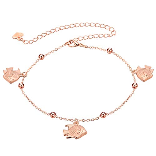 (CTRCHUJIAN Women's Anklet Accessories Bohemian Sexy Fish Charm Chain Ankle Bracelet Anklet Feet Silver/Rose)