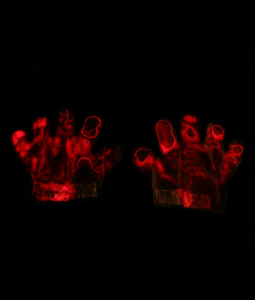Fun Central BC698 6 Pcs Glow Vein Glove Rave Glove Lights Glow in The Dark Gloves Glowing Gloves Halloween Night Party 3 Packs 2 Pcs