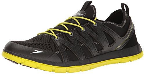 Speedo Men's The Wake Athletic Water Shoe, Black/Sulphur Spring, 11 C/D US