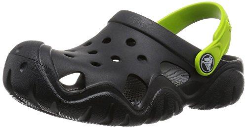 Crocs Kids' Swiftwater K Clog (Toddler/Little Kid), Black/Volt Green, 1 M US Little Kid