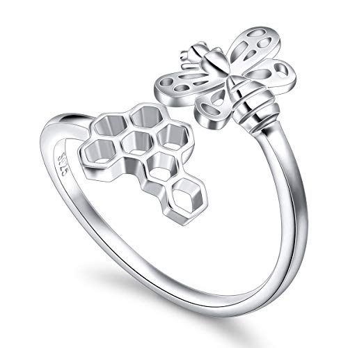 Sterling Silver Bumble Bee - SILVER MOUNTAIN Honeycomb Bee Ring for Women S925 Sterling Silver Adjustable Wrap Open Ring