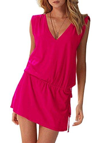 JackenLOVE Mare Maniche Schienale Cover Sexy Rosa Dress Partito Vestito Up Bikni Copricostume Senza Estivo Collo con Rossa da Vestiti Senza Mini Abito Beachwear da Moda Donne Coulisse V Spiaggia zTqryz