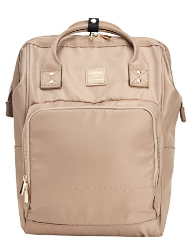 Kah&Kee Nylon Backpack Diaper Bag with Laptop Compartment Waterproof Work Travel School for Women Man (Beige)
