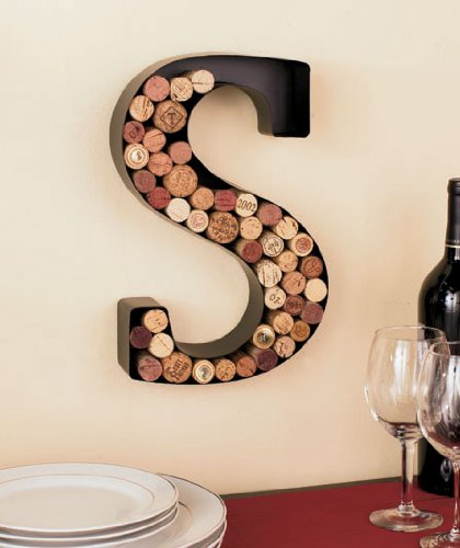 Monogram Letter S Wall Wine Cork Holder in Black Metal (Wine Letters)