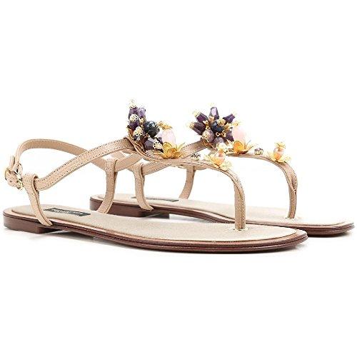 Dolce & Gabbana Women's Sand Leather Flat Sandals Shoes - Size: 36 (Dolce & Gabbana Leather Flats)