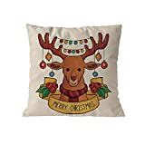 Cotton Blend Pgojuni Merry Christmas Pillow Cases Sofa Decoration Cushion Cover Throw Pillow Sofa/Couch 1pc (D)