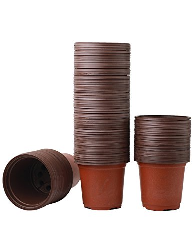 YXMYH 100 Pcs 3.5'' Plastic Flower Seedlings Nursery Supplies Planter Pot/pots Containers, Seed Starting Pots, Planting Pots by YXMYH