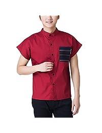 Enerhu Short Sleeves Unisex Chef Uniform Set Chef Coat/Hat/Apron Workwear