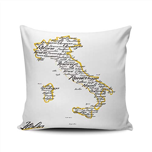 XIUBA Throw Pillow Covers Case Italy Map with City Names Decorative Pillowcase Cushion Cover 24X24 Inch Square Size Double Sided Design Printed ()