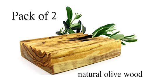 (SET OF 2 Natural Olive Wood Soap Dish, Natural Wooden Sink Bar, Soap Holder, Soap Saver, Hand Craft for Kitchen Bathroom Shower and Counter 2 (PCS))