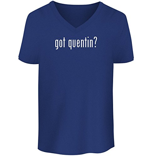 BH Cool Designs got Quentin? - Men's V Neck Graphic Tee, Blue, Medium