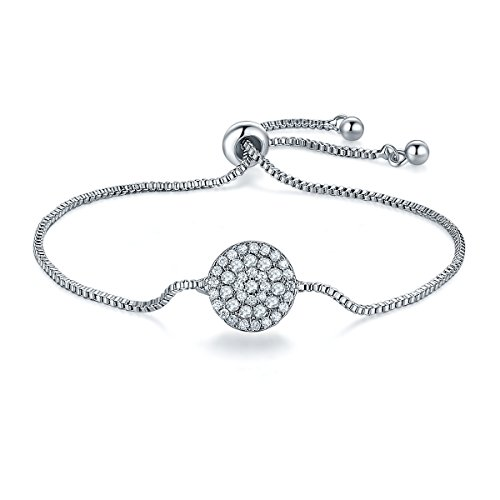 Isijie Jewelry Adjustable Sterling Silver Plated Cubic Zirconia Bracelet women