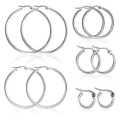 Miraculous Garden 5 Pairs Stainless Steel Hoop Earrings Set for Women Girls?15mm-50mm?