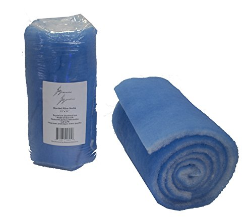 """Awesome Aquatic Bonded Aquarium and Pond Filter Pad 12"""" x 72"""" 1"""" Thick Blue and White Bulk Roll Improves Water Quality Cut Your Own to fit Durable Mechanical Filtration for Aquarium or Pond"""