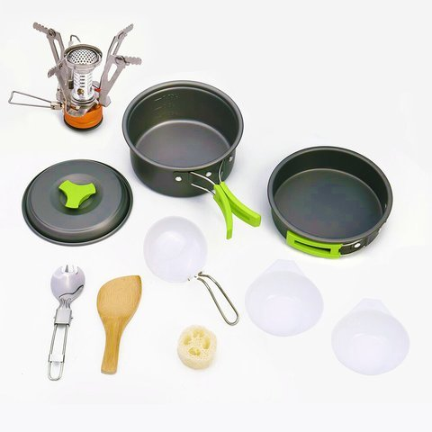 Camping Cookware Backpacking Mess Kit w/ FREE CANISTER STOVE - FDA Approved Non Stick Anodized Aluminum Complete Cooking Pots Pan Utensils Stackable Set Lightweight with Carrying Nylon Bag by OO ()