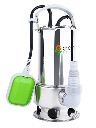 Green Expert 203626 3/4HP Submersible Stainless Steel Sump Pump Max 3700GPH Flow for Quickly Water Removal, Pond Water Transfer with Tethered Float Switch for Automatic Dewatering Application (Pump Steel Stainless Utility)