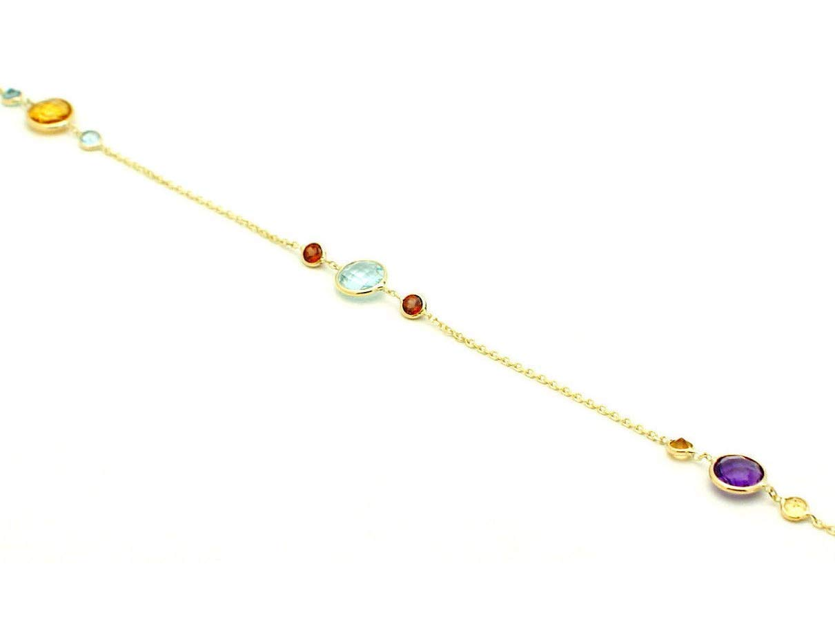 16-20 Inch 14K Yellow Gold Handmade Station Necklace With 6 And 3 MM Gemstones