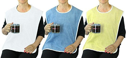 Deluxe Washable Terry Adult Bib with Velcro Closure - Blue, Yellow and White - 3 Pack by Careoutfit