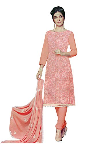 (Ladyline Cotton Lakhnavi Embroidery Salwar Kameez Womens Indian Dress Ready to Wear Salwar)