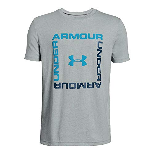 Under Armour Boys' Box Logo Short Sleeve T-Shirt, Mod Gray Light Heather (011)/Ether Blue, Youth -