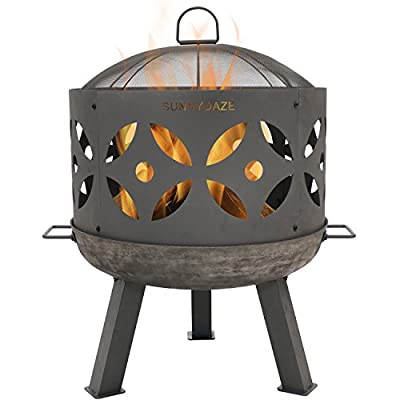 Sunnydaze Retro Fire Pit Bowl, Outdoor Cast Iron Patio Fireplace with Handles and Spark Screen, 26-Inch - GREAT FOR BACKYARD: Outside firepit has a 26.5 inches diameter x 29.5 inches tall and is 1.75 mm thick; Weighs 27.2 pounds; Spark screen is 21 inches diameter x 5.5 inches tall; Fire bowl is 4.5 inches deep and sits 9 inches above ground DURABLE CONSTRUCTION: Bonfire pit is made of cast iron metal with high-temperature paint finish to withstand the heat of fire; Features portable handles on both sides to move the fire pit around with ease; Also features 3 sturdy feet that provide a stable base for the fire PERFECT FOR GET-TOGETHERS: Fire pit kit includes mesh spark screen keeps stray embers and sparks at bay, so you and your company can safely enjoy the warmth and flames of the fire; Screen also features a handle at the top that makes it easier to lift on and off the fire pit - patio, fire-pits-outdoor-fireplaces, outdoor-decor - 417FiLSbsOL. SS400  -