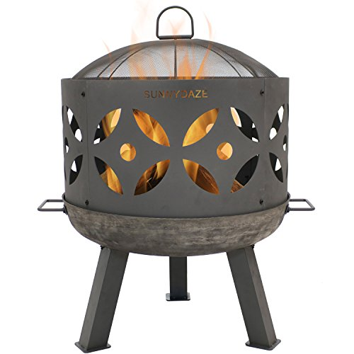 Iron Chimenea Round Cast - Sunnydaze Retro Fire Pit Bowl, Outdoor Cast Iron Patio Fireplace with Handles and Spark Screen, 26-Inch