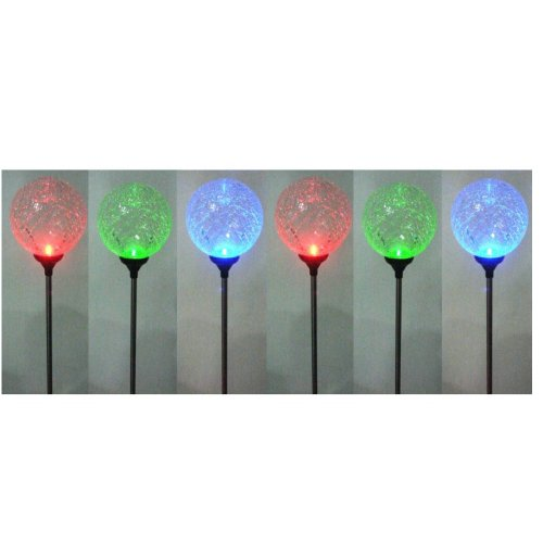 Instapark® YT5004-6 Color-changing Crackle Glass Ball Solar Light with Photocell Sensor, 6-pack