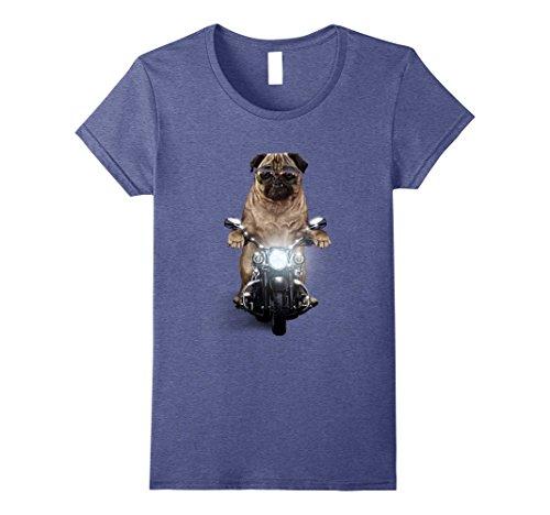 Womens Grumpy Pug in Aviator Sunglass Riding Motorcycle Dog T-Shirt XL Heather - Pugs Aviator Sunglasses