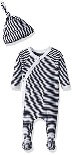 Set Footed (Burt's Bees Baby Baby Organic Footed Coverall and Hat Set, Midnight Mini Stripe Kimono, 3-6 Months)