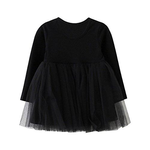 - BOBORA Little Kids Baby Girls Long Sleeve Dress White and Black Plaid Skirt (2-3 Years, Black-Tulle)