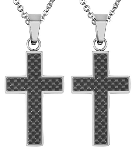 Daesar 2PCS His & His Matching Set Necklace Stainless Steel Fiber Carbon Christ Cross With - Island Macys Long In