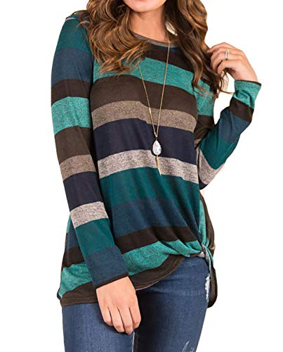 AMCLOS Womens Tops Striped T-Shirts Knot Side Twist Tunic Casual Blouses Lightweight Long Sleeve (Green, M)