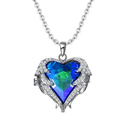 Isijie Jewelry Angels Wing Love Heart Crystal Guardian Angel Pendant Necklace for Women,Heart of The Ocean Blue by Isijie Jewelry