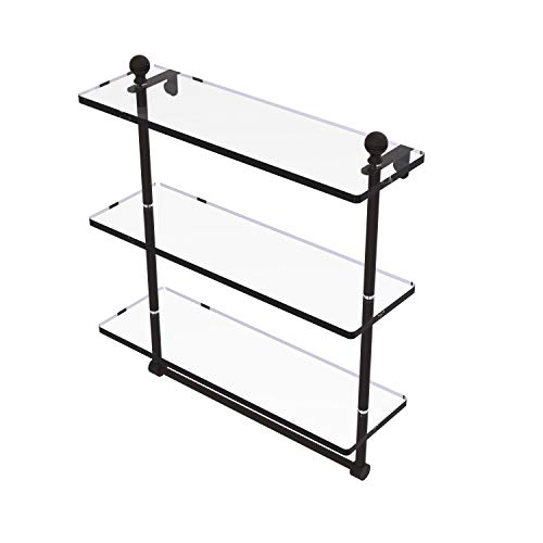 Allied Brass MA-5/16TB Mambo Collection 16 Inch Triple Tiered Integrated Towel Bar Glass Shelf, Oil Rubbed Bronze