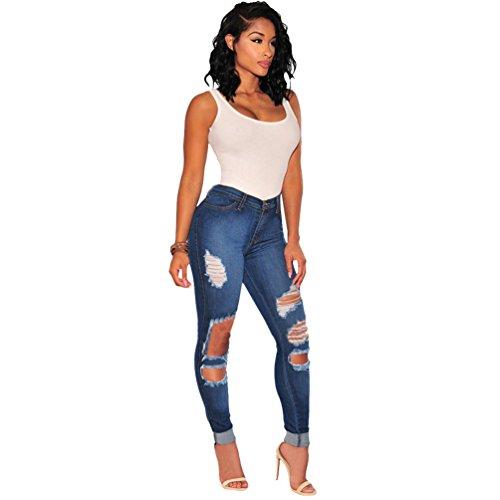 Sentao Femmes Skinny Denim Pants Casual Trou Pantalon Dchirs Jeans Bleu