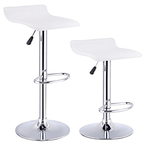 Costway Set Of 2 Swivel Bar Stools Adjustable PU Leather Backless Dining Chair (White) (Sets Of Bar Stools)