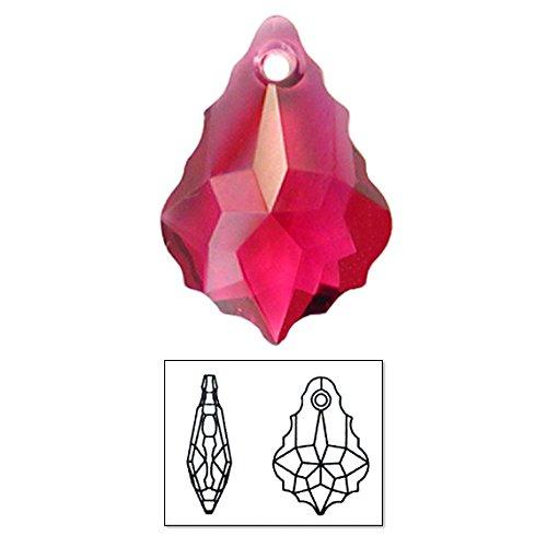 SWAROVSKI ELEMENTS 6090 Baroque Pendants, Transparent, Ruby, 11 by 16mm, 3 Per Pack ()