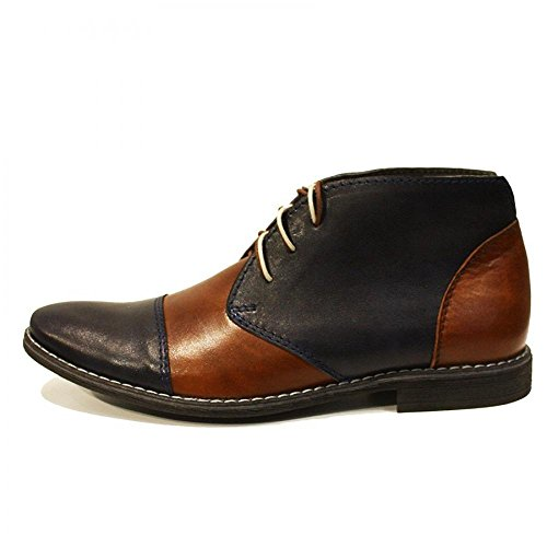 PeppeShoes Modello Classico - Handmade Italian Leather Mens Navy Blue Ankle Chukka Boots - Cowhide Smooth Leather - Lace-Up OtPVG8nx